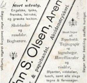 John S. Olsen reklamekort, forside