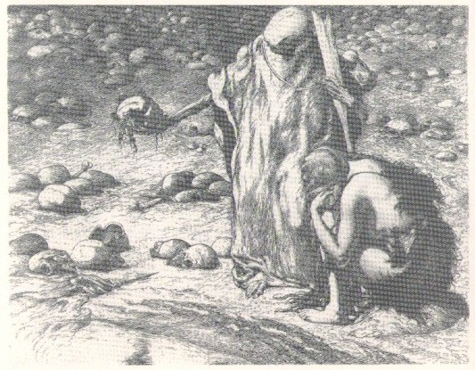 Louis Moe:  Eva, la Mort et les races pasees (Eva, døden og de forgangne slegter), radering opus 84, 1920, 28,5 x 35,7 cm.