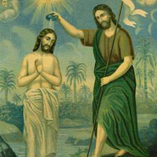 Jesu dåp, oljetrykk ca 1880