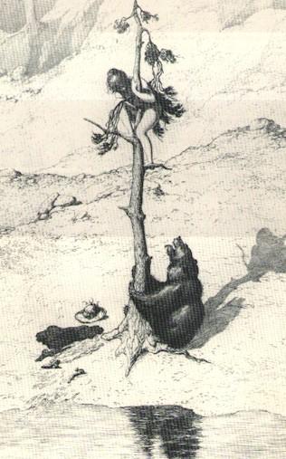 Louis Moe: Bjørnen og badet, radering 105, 1925, 47,2 x 29,7 cm.