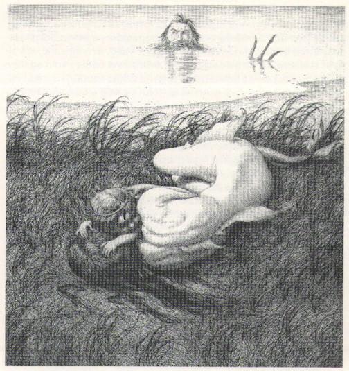 Louis Moe:  Uden titel (Idyl ved havet), opus 113, radering 1923, 29,4 x 38,6 cm.