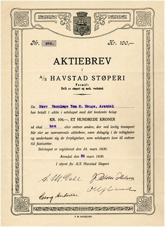 Aksjebrev i AS Havstad Støperi i Arendal, 1930
