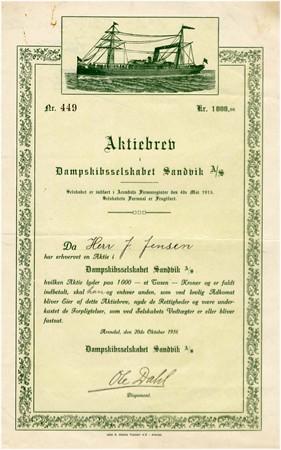 Aksjebrev var et av trykkeriets produkter. Her Dampskibsselskabet Sandvik AS, Arendal 1936.