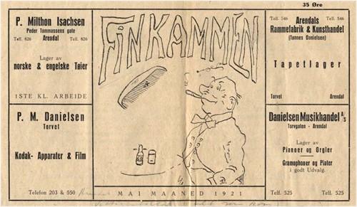 Vittighetsbladet Finkammen fra mai 1921. Eneste nummer som utkom.