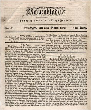 Morgenbladet den 28. mars 1832  med subskripsjonsinnbydelse for Den vestlandske Tidende.
